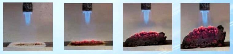Quando exposta à chama a tinta se expande e forma uma parede de espuma